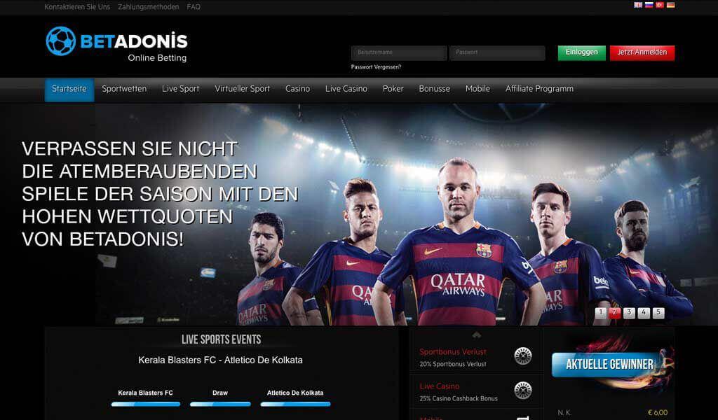 Startseite vom Wettanbieter BetAdonis (Quelle: BetAdonis)