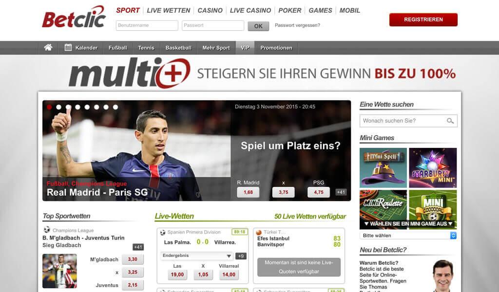 Startseite des Wettanbieters Betclic (Quelle: Betclic)