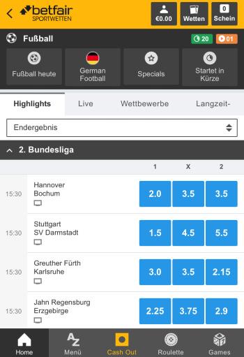 Betfair - Sportwetten-App