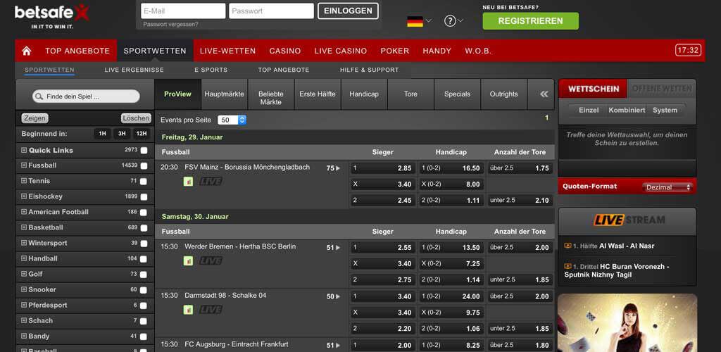 Betsafe Webseite mit einem Quotenauszug der 1. Bundesliga (Quelle: Betsafe)