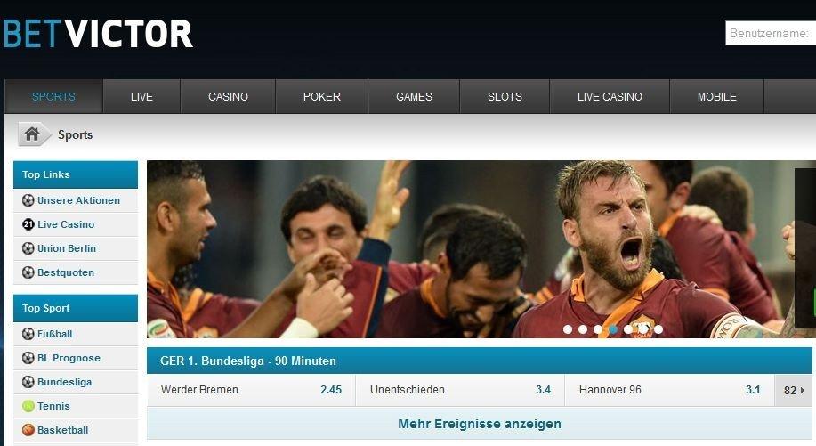 BetVictor Startseite