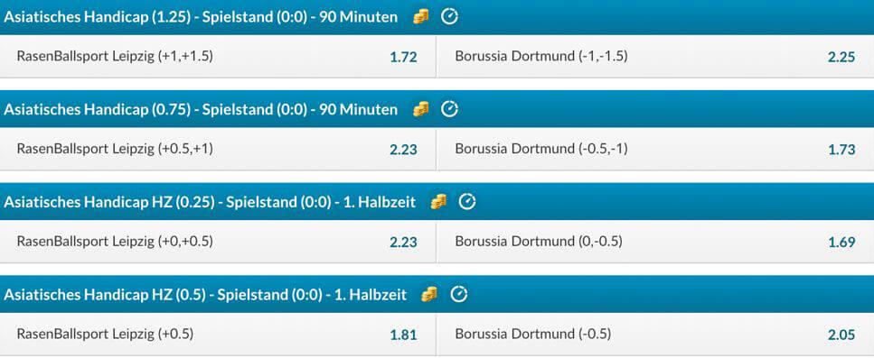 Beispiel für Asian Handicap Quoten einer Bundesligabegegnung bei BetVictor (Quelle: BetVictor)