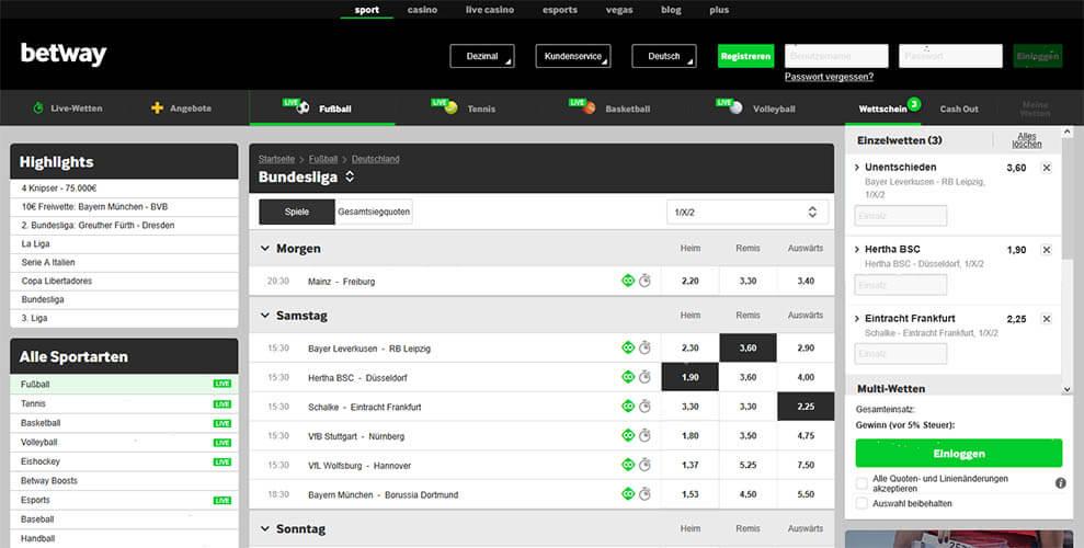 Betway Bundesliga Quoten mit Wettschein, der vor Abgabe nochmal genau geprüft werden sollte (Quelle: Betway)