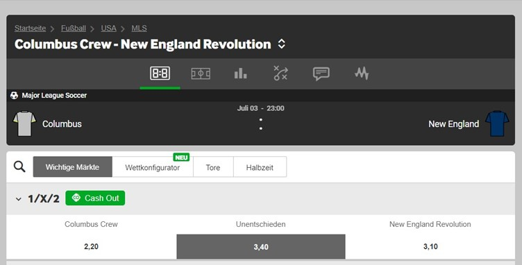 betway football odds