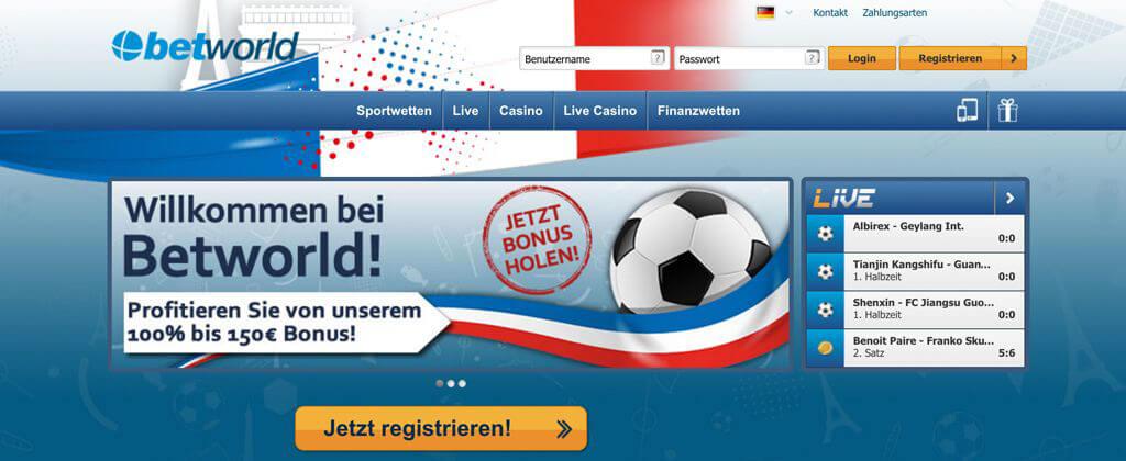 Den Button für die Registrierung findest Du direkt auf der Startseite (Quelle: Betworld)