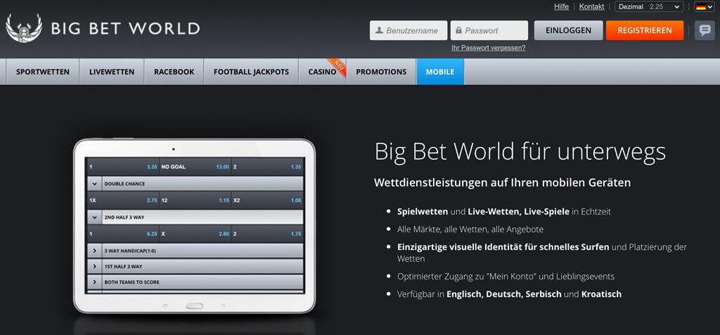 Big Bet World mobile App für unterwegs (Quelle: Big Bet World)