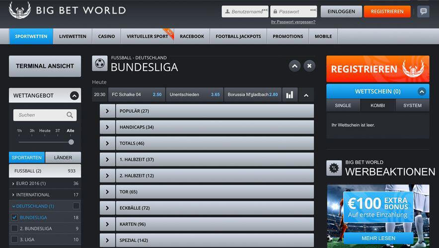 Übersicht des Wettangebotes einer Bundesligabegegnung bei BigBetWorld (Quelle: BigBetWorld)