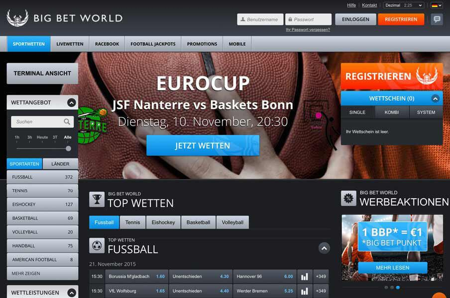 Startseite des Wettanbieters BIG BET WORLD (Quelle: BIG BET WORLD)