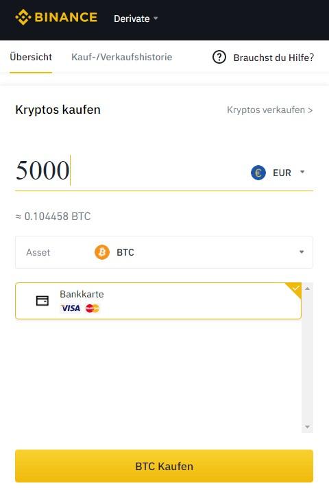 Bitcoin auf Binance kaufen
