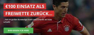 Wett-Bonus heute: 100 Euro Freiwette bei BVB gegen Bayern