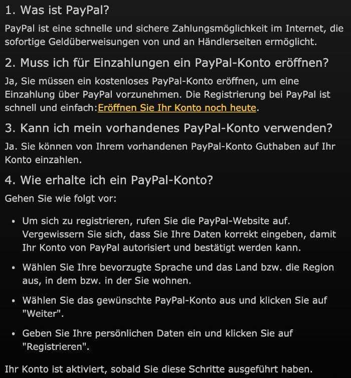 FAQ zu Paypal auf bwin