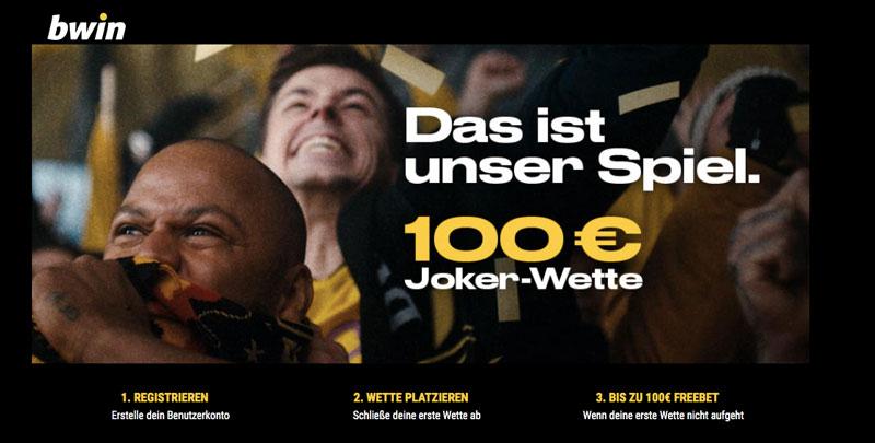 jubelnde Fans im Hintergrund, bwin Jokerwette im Wert von 100 € als Text im Vordergrund
