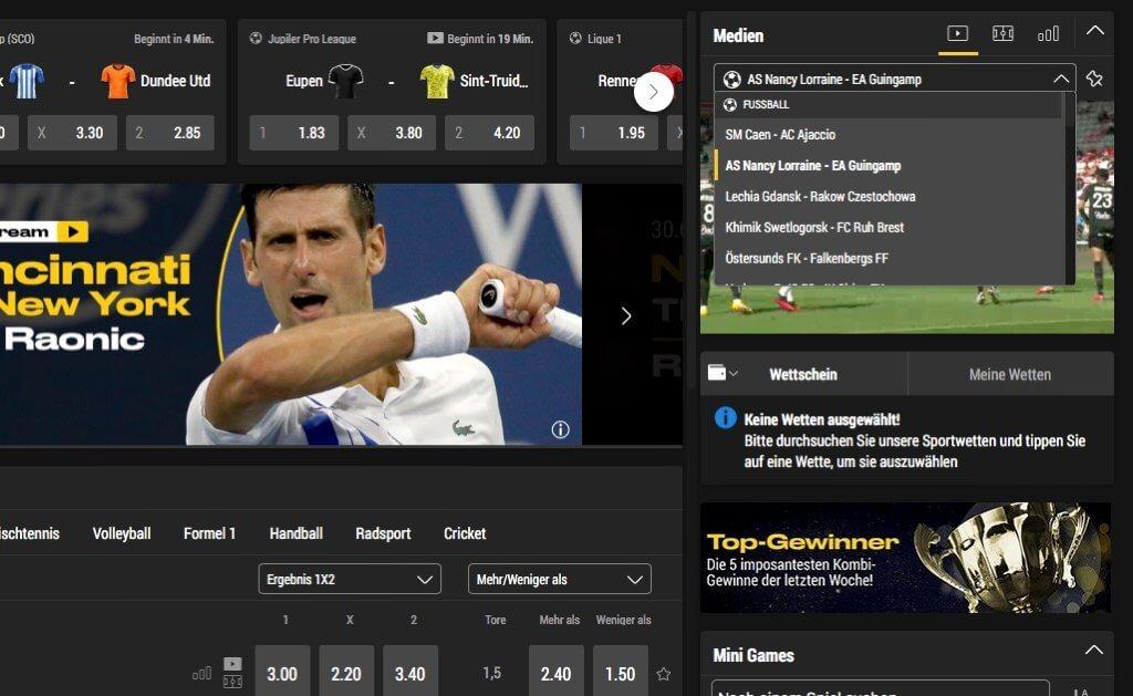 bwin Livestream – per Dropdown Menü können Spiele gewechselt werden