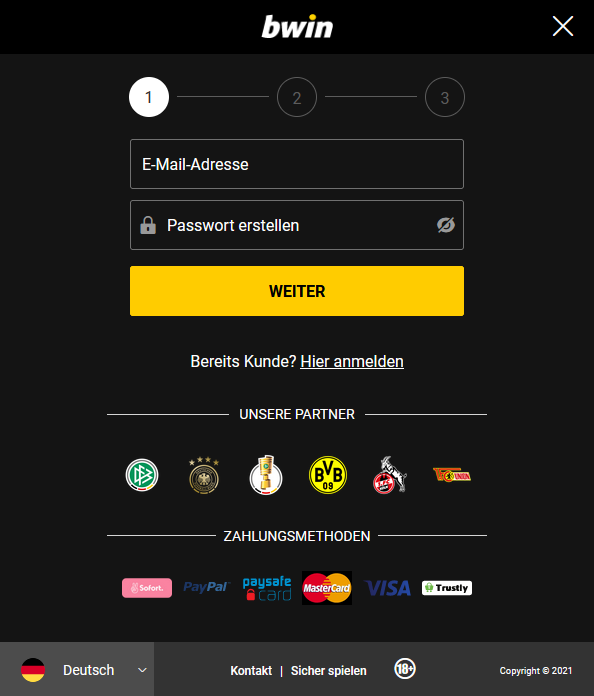 Erster Schritt der Bwin Registrierung
