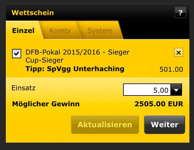 bwin Wettschein einer Außenseiterwette beim DFB-Pokal (Quelle: bwin)