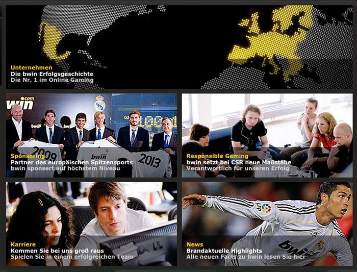 Eine Unternehmensseite von bwin. Der Wettanbieter arbeitet sehr transparent und stellt auf seiner Homepage viele Informationen zur Verfügung (Quelle: bwin)