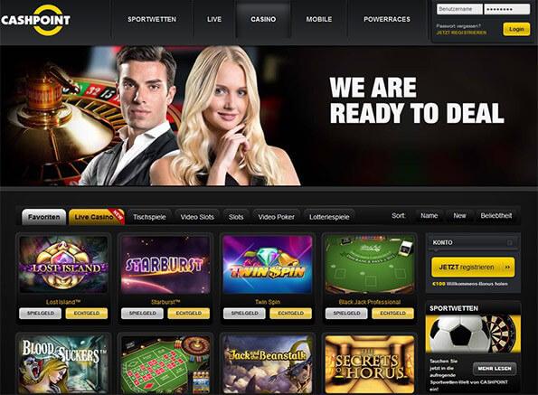 Casino Oberfläche bei Cashpoint (Quelle: Cashpoint)