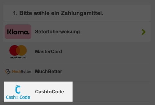 Lottoland – CashtoCode als Zahlungsmittel wählen