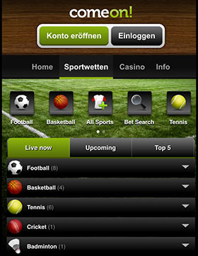 ComeOn mobile App für iPhone, iPad & Android + Download