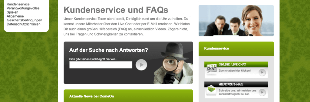 kundenservice support comeon