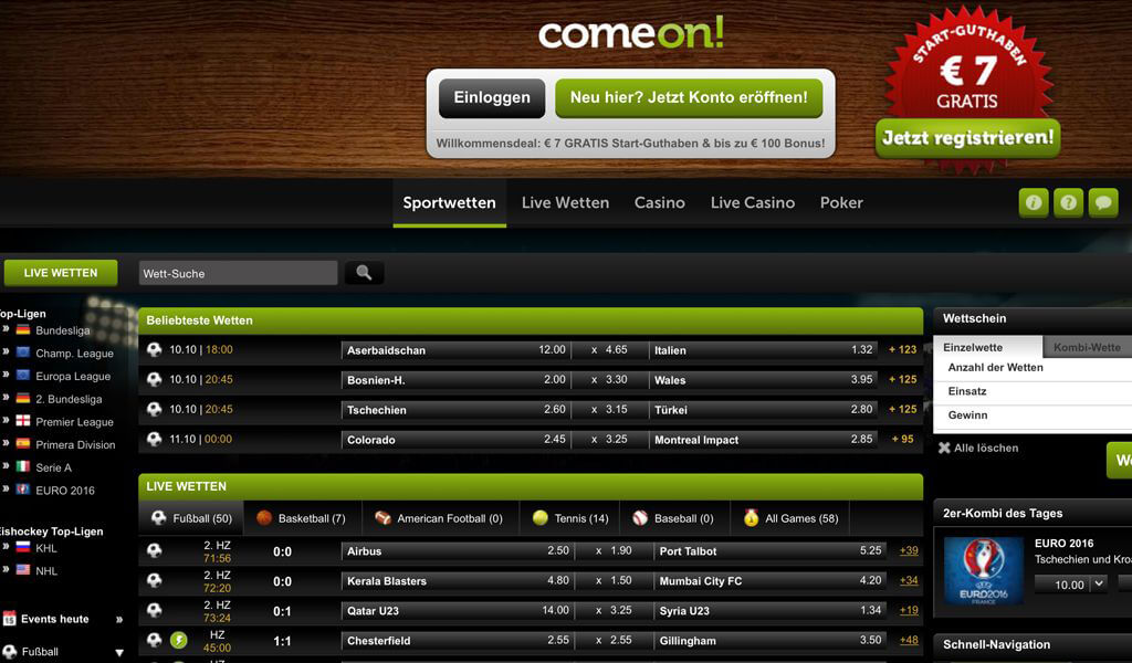 Die Website von ComeOn ist aufgeräumt und verstärkt den positiven Gesamteindruck (Quelle: ComeOn)