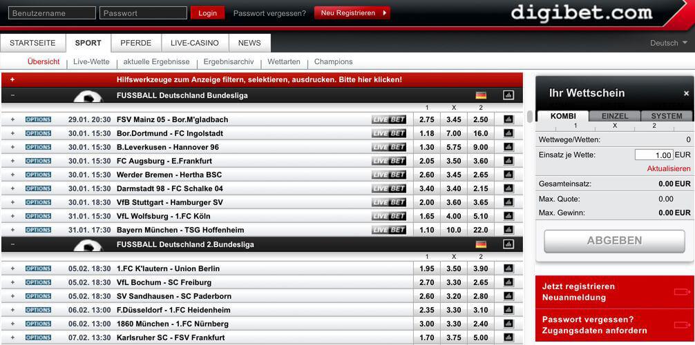 Quotenauszug der 1. Bundesligaauf der Webseite von digibet (Quelle: digibet)