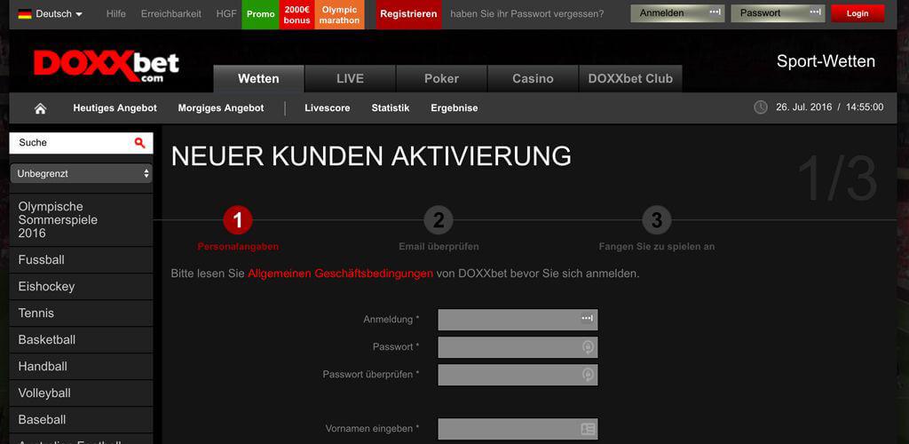 Registrierung beim Wettanbieter DOXXbet (Quelle: DOXXbet)