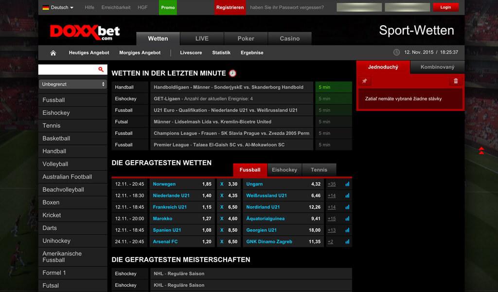 Startseite des Wettanbieters Doxxbet mit dem umfangreichen Wettangebot (Quelle: Doxxbet)