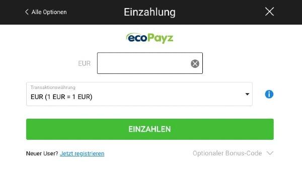 Beim Wettanbieter mit ecoPayz einzahlen