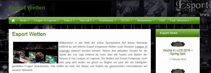 Startseite von eSports (Quelle: eSports)