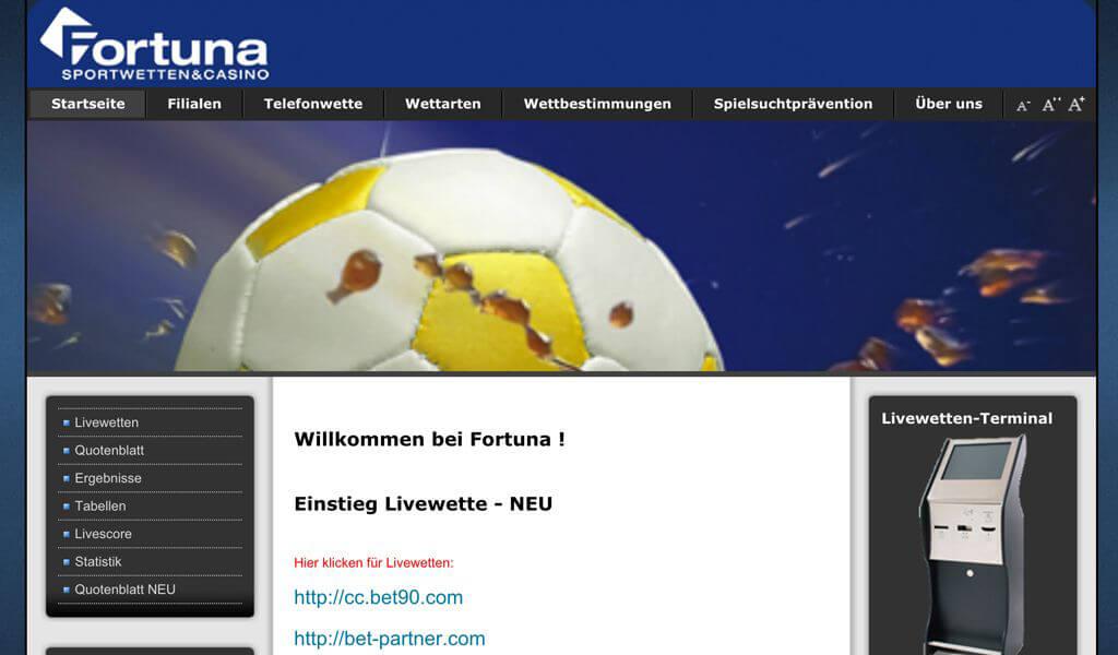 Startseite von Fortuna-Wetten (Quelle: fortunabet.at)