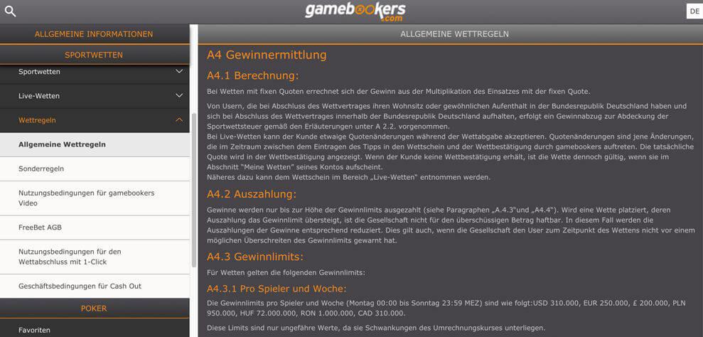 gamebookers – Gewinn, Limit, Mindesteinsatz und Maximalgewinn