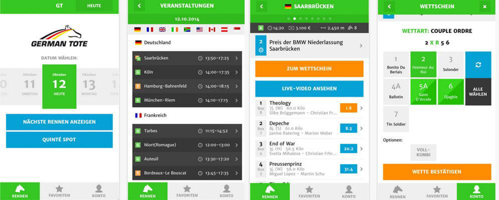 Mobile Darstellung bei GermanTote (Quelle: GermanTote-App, iTunes)