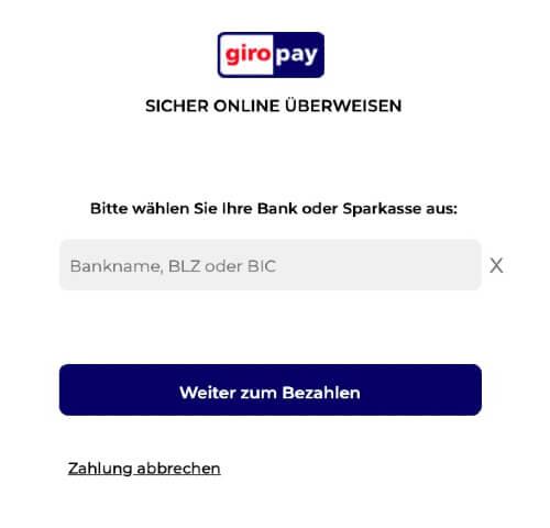 Mit Giropay bei bet365 einzahlen – An Giropay weitergeleitet Bankdaten angeben