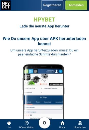 Die mobile Webseite von HPYBET
