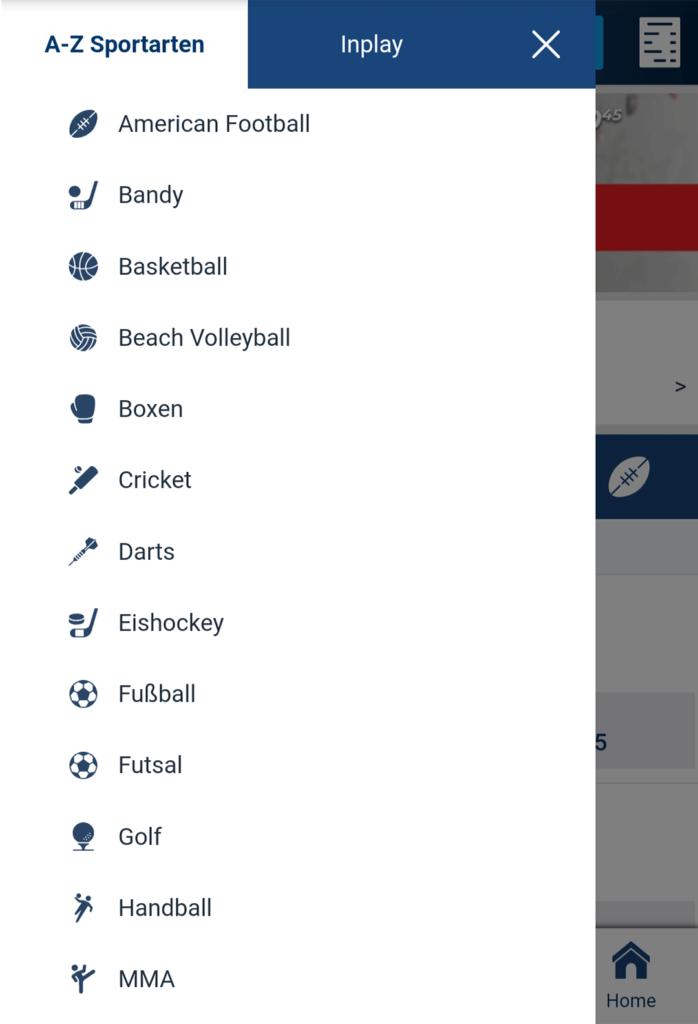 HPYBET App Sportarten (Quelle: HPYBET)