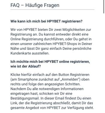 FAQ in der HPYBET App