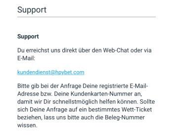 Der Support über die HPYBET App