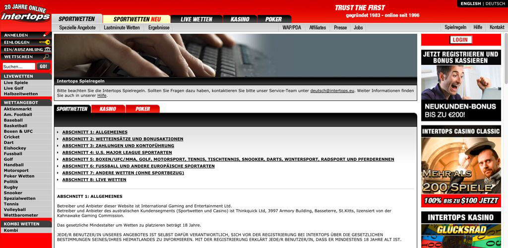 In den AGB von Intertops findest Du alle Informationen, die Du brauchst (Quelle: Intertops)