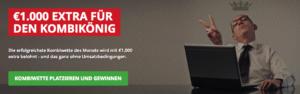 Wettbonus heute: Kombikönig des Monats werden und bei Intertops 1.000 Euro extra abstauben!
