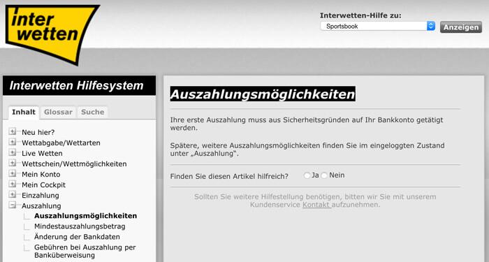 Informationen zu den Auszahlungsmöglichkeiten in der AGB von Interwetten (Quelle: Interwetten)