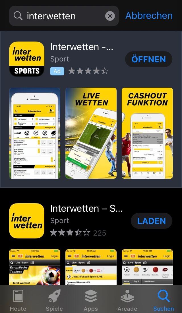 Interwette-App im App Store