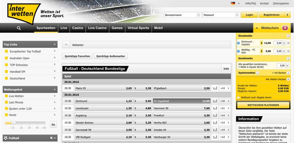 Interwetten Webseite mit einem Quotenauszug der 1. Bundesliga (Quelle: Interwetten)