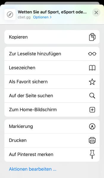 Optionen bei iOS - Webseite als Home-Bildschirm einstellen