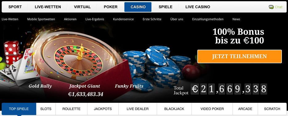 Das Casino von Iron Bet mit den typischen Glücksspielen (Quelle: Iron Bet)