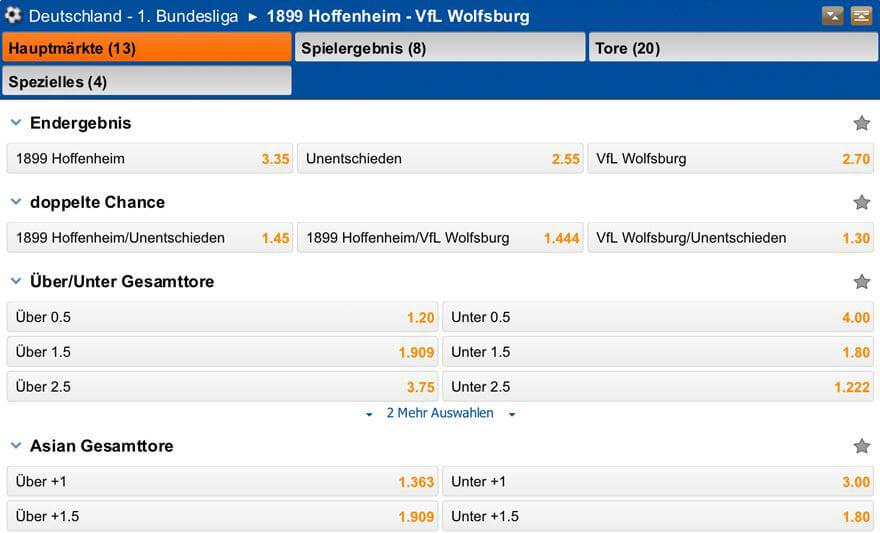 Quotenbeispiel einer Bundesligabegegnung für einige Wettarten bei Iron Bet (Quelle: Iron Bet)