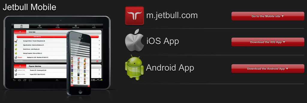 Jetbull mobile App für iPhone, iPad und Android