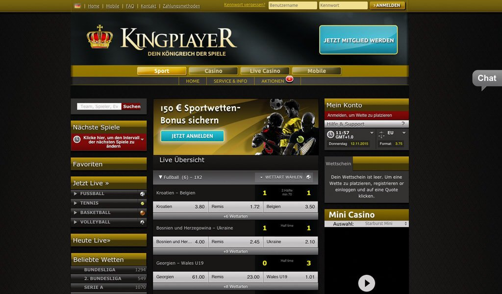 Startseite des Wettanbieters Kingplayer (Quelle: Kingplayer)