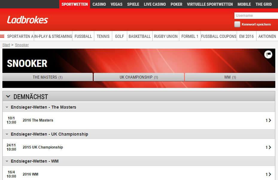 Endsieger-Wetten gehören bei Ladbrokes zum Standard der Snooker-Wetten (Quelle: Ladbrokes)