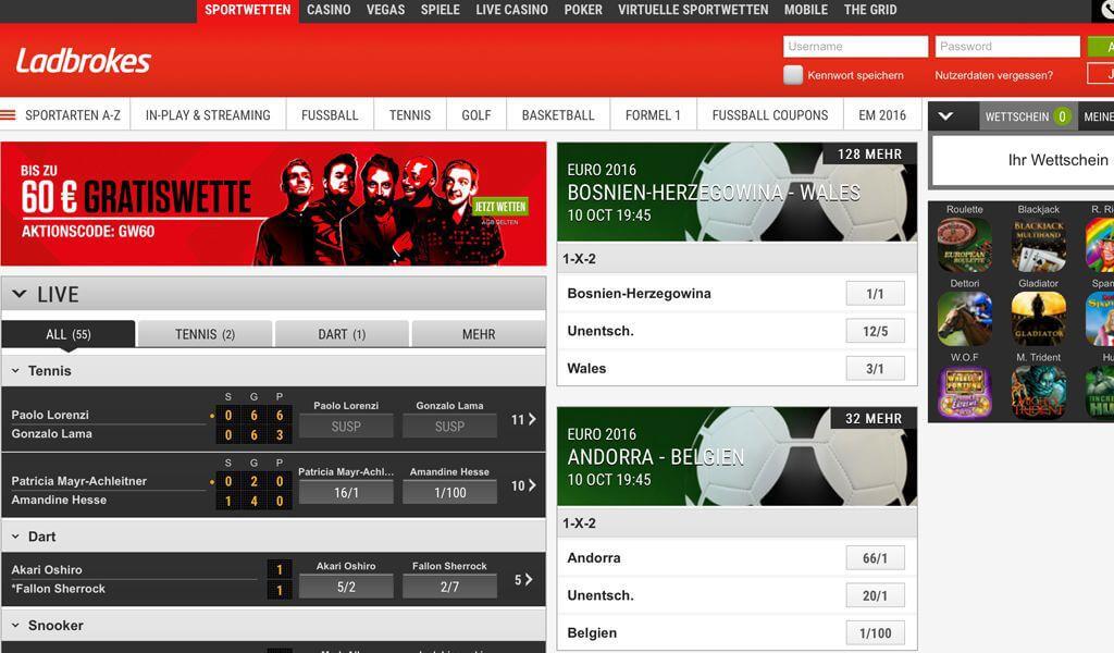 Startseite des Wettanbieters Ladbrokes mit der Anmeldung oben rechts (Quelle: Ladbrokes)